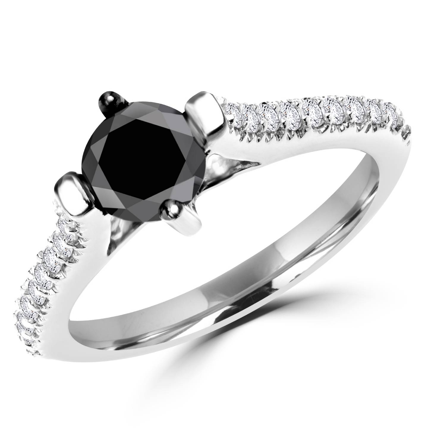 1 1/10 CTW Round Black and White Diamond Engagement Ring in 14K White Gold (MD130013) - image 2 of 2
