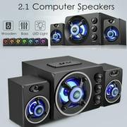 Dnyker Multimedia 2.1 Desktop Computer Speaker LED Light Heavy Bass Subwoofer Home Speaker USB Power Supply for PC Laptop Cellphone ( Blue Light)