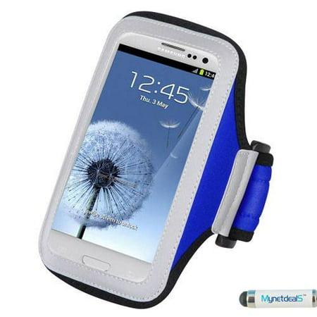 Premium Sport Armband Case for BLU W110i (Tank 4.5), D310 (Dash 4.5), A310a (Advance 4.5) - Navy Blue + MYNETDEALS Mini Touch Screen Stylus (Blu Dash Advance)