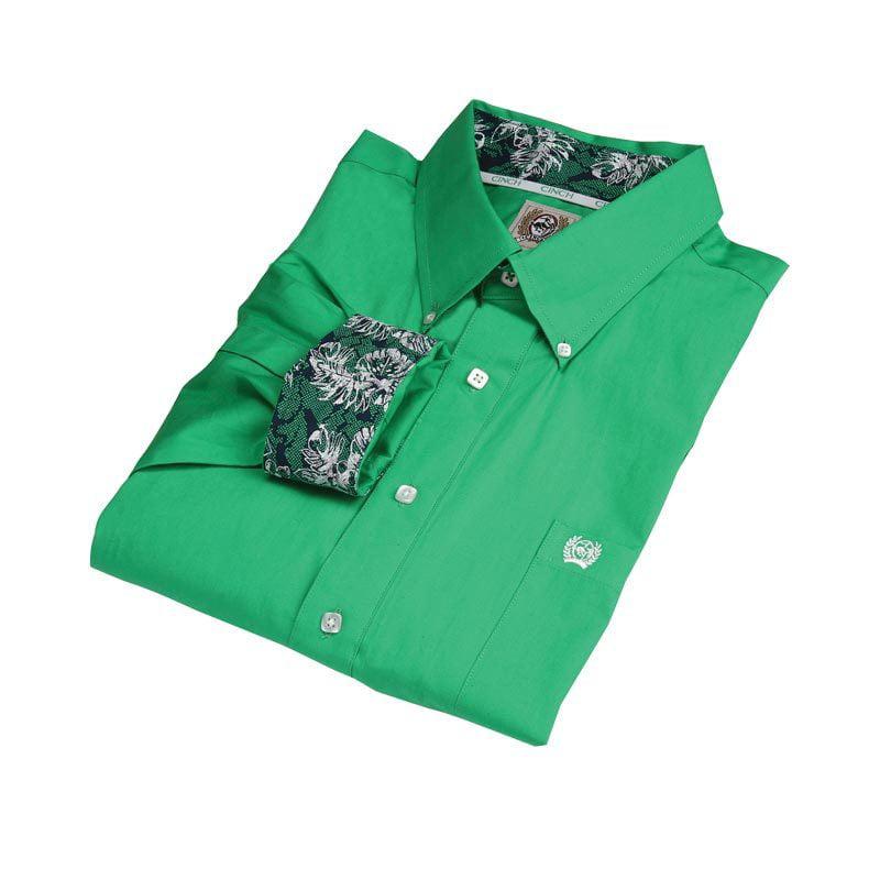 CINCH Mens  Green Long Sleeve Shirt