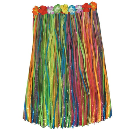Child Multi-color Artificial Grass Hula Skirt with Floral (Children's Grass Skirts)