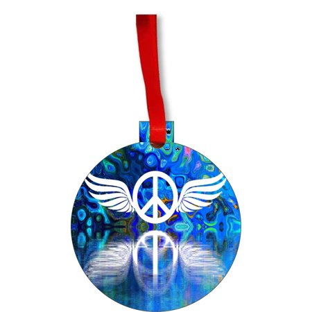 - Ornaments Aqua Angel Wings Peace Symbol Kaleidescopic Design Round Shaped Flat Hardboard Christmas Ornament Tree Decoration - Unique Modern Novelty Tree Décor Favors