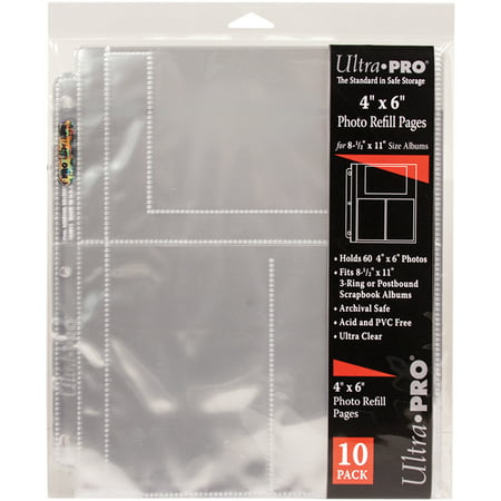 Ultra Pro 85x11 Refill Pages 10pkg For 4x6 Photos Walmartcom