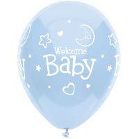 "(4 Pack) Way to Celebrate Balloons 12"" Light Blue Latex Welcome Baby Boy, 8 ct"