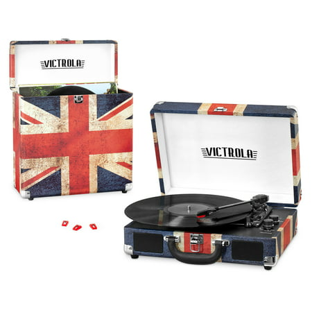 Victrola Record Player Bundle Includes a 3-Speed Turntable, Record Storage Case and Replacement Needles, UK Flag Print (Record Player In Case)