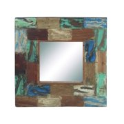 Restoration Square Wall Mirror Set Reclaimed Wood   Brown Blue Décor 38327