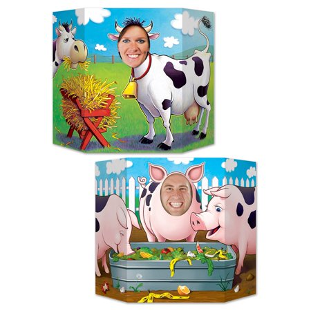 Pack of 6 Double-Sided Pigs and Cows Stand-Up Cutout Photo Prop Party Decorations 37