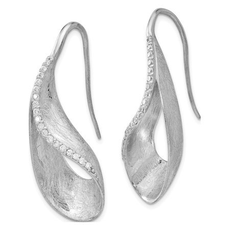 Leslie's Sterling Silver Scratch Finish CZ Shepherd Hook Earrings (40x12.96) - image 1 of 3