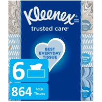 Kleenex Trusted Care Everyday Facial Tissues, 144 Tissues per Flat Box, 6 Boxes (864 Tissues Total)