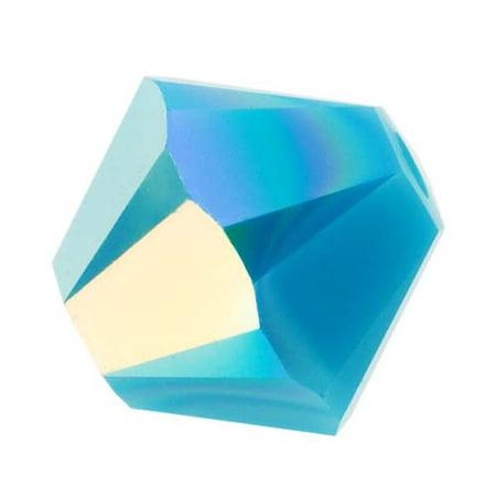 Swarovski Crystal, #5328 Bicone Beads 4mm, 24 Pieces, Turquoise AB Swarovski Tanzanite Round Beads