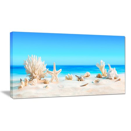 Design Art 'Seashells on Tropical Beach' Photographic Print on Wrapped Canvas