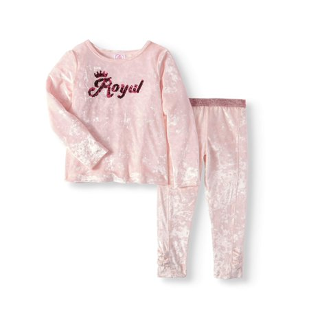 Girls' Long Sleeve Sequin Velour Top & Bow Pants, 2pc Outfit Set