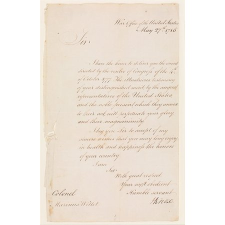 Letter From Henry Knox  1750   1806  Secretary Of War To Colonel Marinus Willet  1740   1830  Poster Print  18 X 24