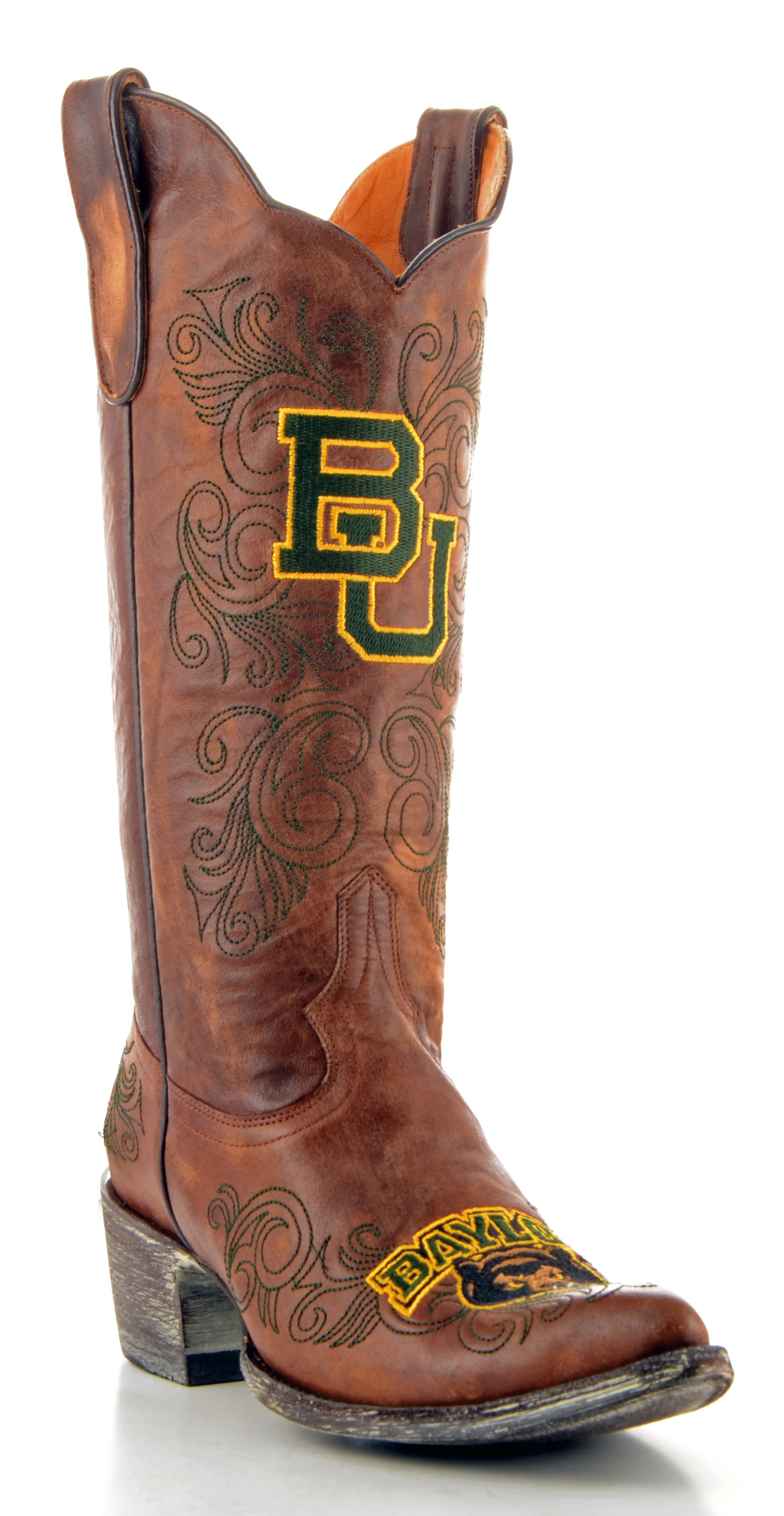 "Women's Tan Baylor Bears 13"" Embroidered Boots by GameDay Boots"