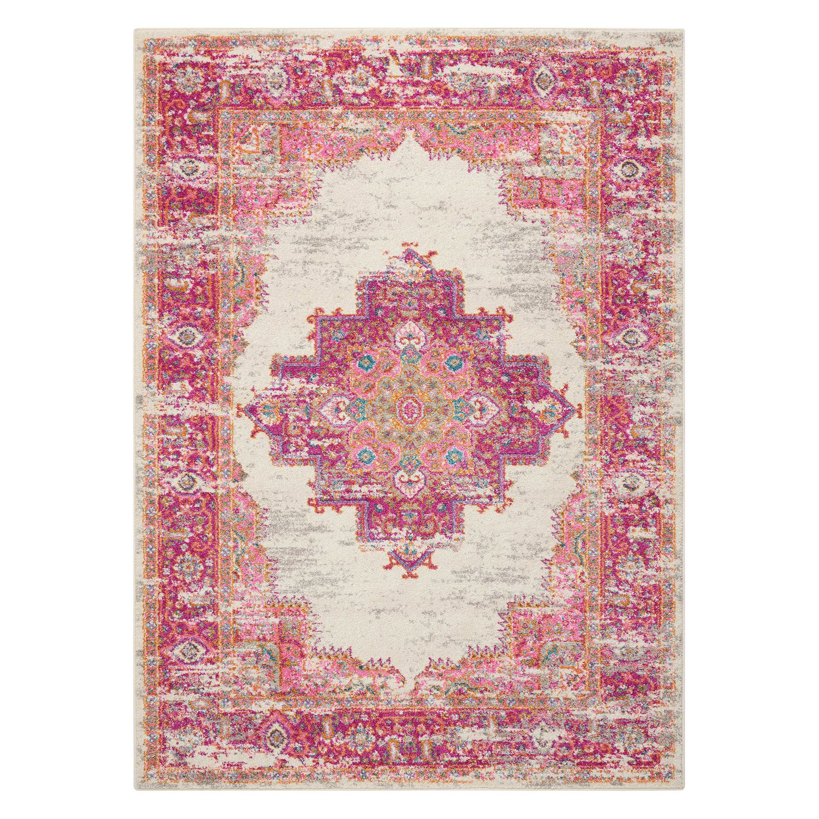 Nourison Passion Ivory Fuchsia Area Rug by Nourison