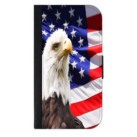 American Flag and Bald Eagle Patriotic Print Design - Wallet Style Cell Phone Case with 2 Card Slots and a Flip Cover Compatible with the Apple iPhone 4 and 4s Universal