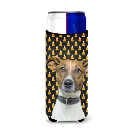 Candy Corn Halloween Jack Russell Terrier Ultra Beverage Insulators for slim cans KJ1211MUK - Chris Russell Halloween