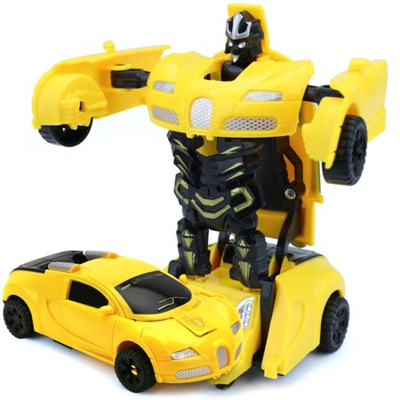 Mini Cartoon Deformation Car Inertial Transformation Robots Toys for Children Style:blue - image 6 of 6