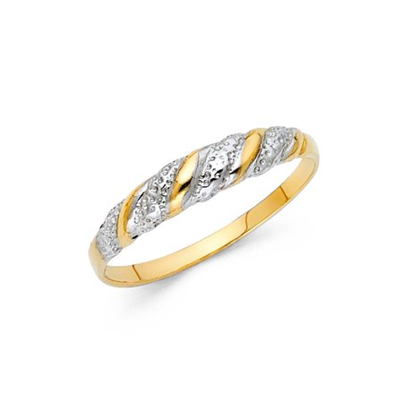 14k Two Tone Italian Solid Gold Twisted Plain & Diamond Cut Band 4mm Ring Size 5 Available All Sizes 14k Two Tone Diamond Band
