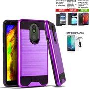 Phone Case For Walmart Family Mobile LG Journey / Tracfone LG Journey LTE Case,  Straight Talk Journey Case (L322DL) Shock absorbing Brush Cover (Slim Purple +Tempered Glass)