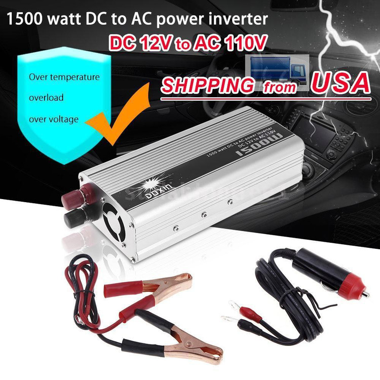 Portable Car Power Inverter 1500W WATT DC 12V to AC 110V Car Charg er Power Inverter Converter Modified Sine Wave Transformer Power Supply