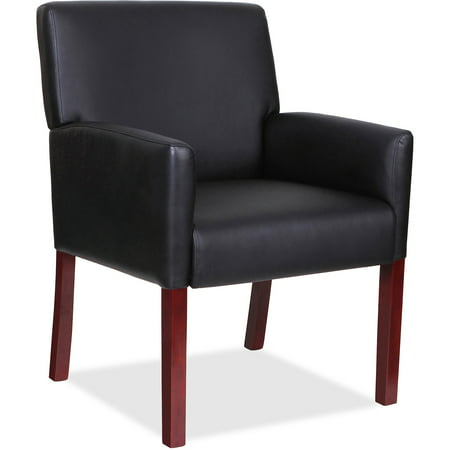 Lorell Full-sided Arms Leather Guest Reception Waiting Room Chair, Mahogany Wood Frame