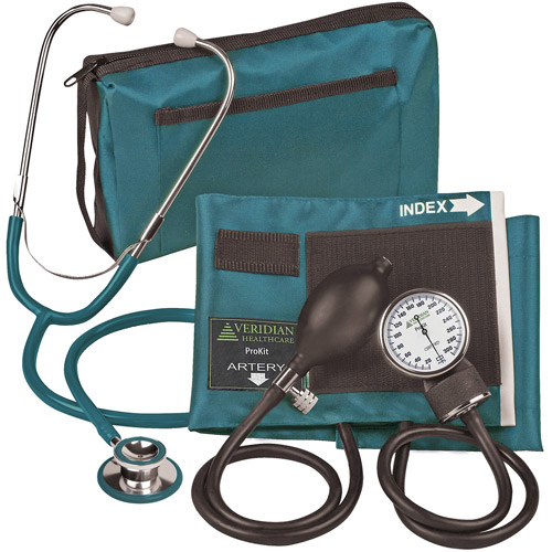 ProKit Aneroid Sphygmomanometer with Dual-Head Stethoscope, Adult, Teal