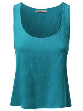 025f689c7872 Product Image FashionOutfit Women s Basic Gauze Sleeveless Tank Crop Tops