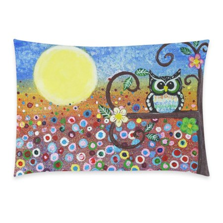 ZKGK Abstract Cute Vintage Owl in Forest Floral Print Cartoon Pillowcase for Couch Bed 20 x 30 Inches,Oil Painting Owl Flower Colorful Pillow Cover Case Shams Decorative ()