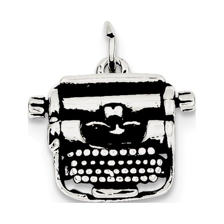 Leslies Fine Jewelry Designer 925 Sterling Silver Antiqued Typewriter (19x20mm) Pendant Gift