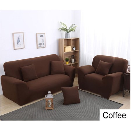 Stretch Sofa Covers,1/2/3/4 Seats Solid Color Chair Loveseat Couch Fabric Slipcovers Protector,COFFEE 3 -