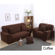 Stretch Sofa Covers,1/2/3/4 Seats Solid Color Chair Loveseat Couch Fabric Slipcovers Protector,COFFEE 3 Sest