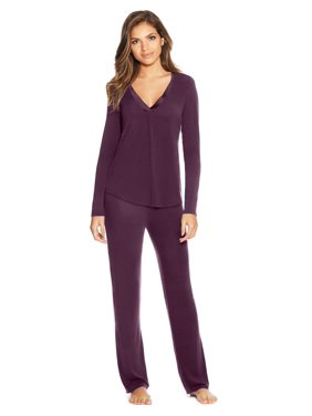Maidenform Womens V-Neck PJ Set, M, Potent Purple