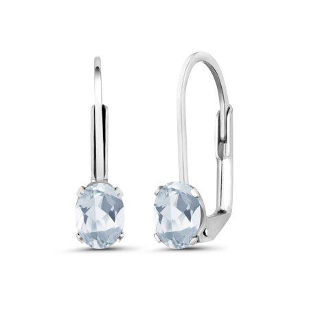 1.10 Ct Oval Sky Blue Topaz 925 Sterling Silver Earrings