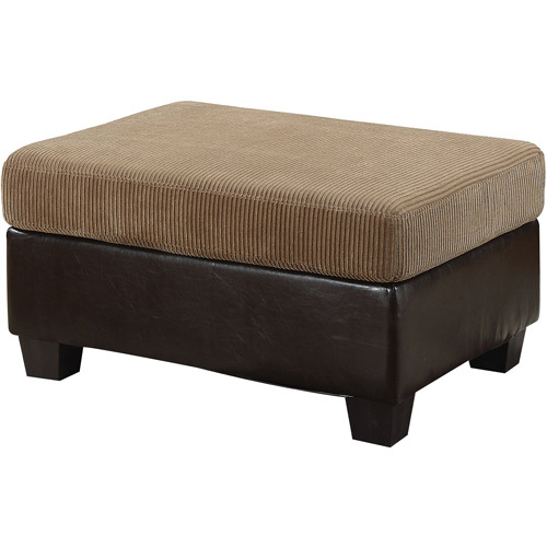 Connell Collection Corduroy and Faux Leather Ottoman, Light Brown Espresso by ACME UNITED CORPORATION