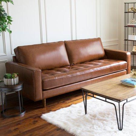 Devon & Claire Mid Century Top Grain Leather Sofa ()