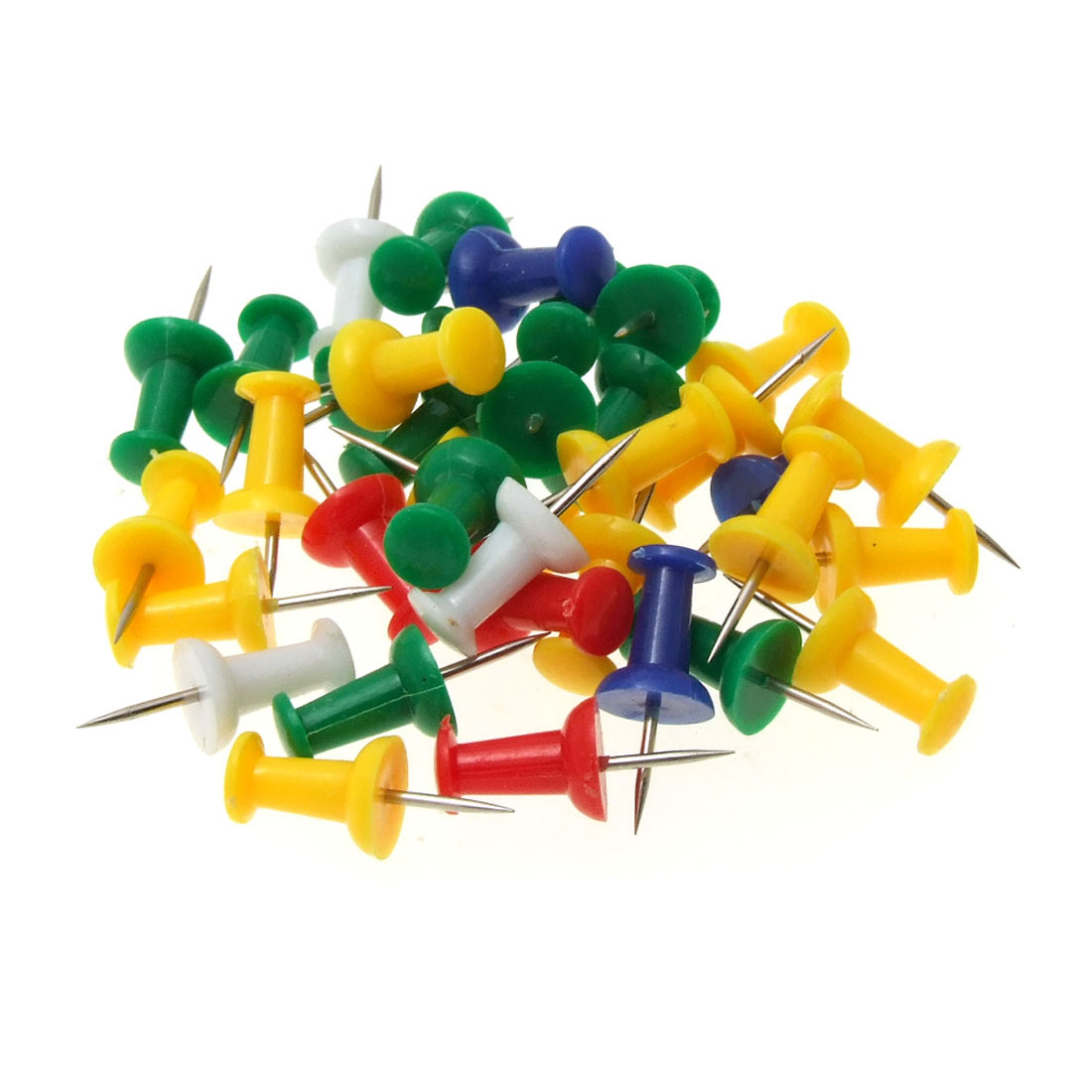 Unique Bargains New Plastic Heads Assorted Thumb Tack Push Pins 35PCS