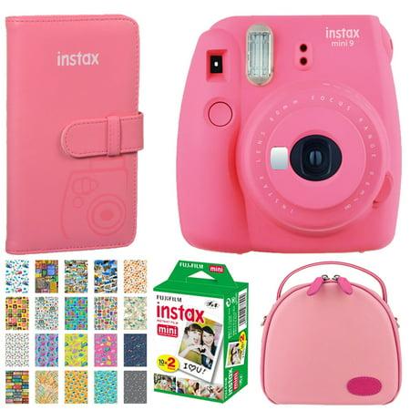 Dream Gift! Fuijfilm Instax Mini 9 Instant Film Camera Flamingo Pink + Trendy Pink Bag – Camera/Accessories + Fuji Instax Prints Pocket Album + Film Twin Pack – 20 Sheets + Travel Designed Photo Frame