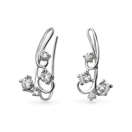Sterling Open Swirl Earring (CZ Swirl Wire Ear Pin Climbers Crawlers Earrings For Women For Teen Round Cubic Zirconia 925 Sterling Silver)