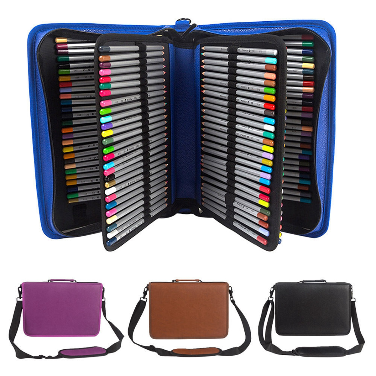 160 Slots Pencil Pen Case Holder Pouch PU Leather Eraser Art Supply Shoulder Bag,Blue color