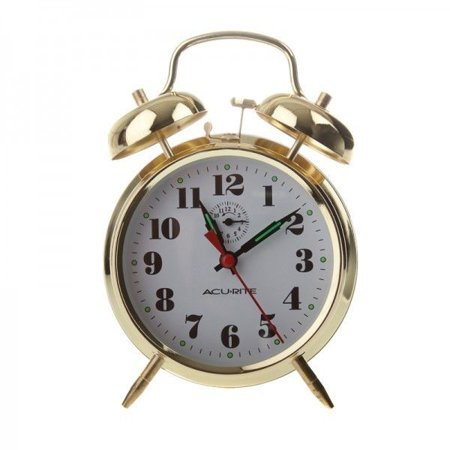 Image of AcuRite Vintage Twin Bell Alarm Clock, 15605