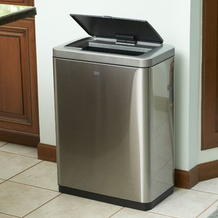 eko stainless steel 40 liter dual compartment sensor trash and recycling bin. Black Bedroom Furniture Sets. Home Design Ideas