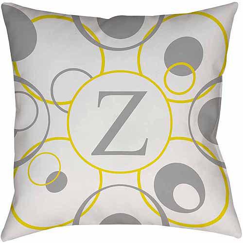 MWW, Inc. Thumbprintz Circle Variations Monogram Yellow Decorative Pillows