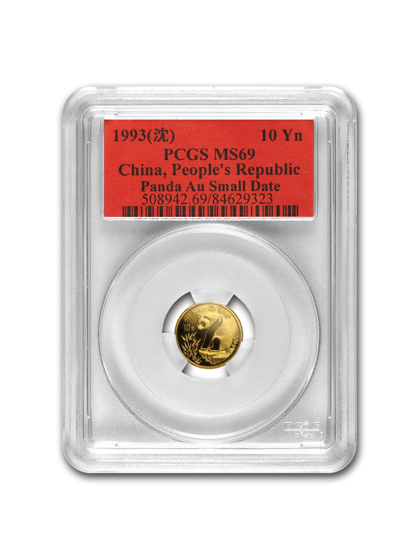 1993 China 1/10 oz Gold Panda MS-69 PCGS (Small Date)