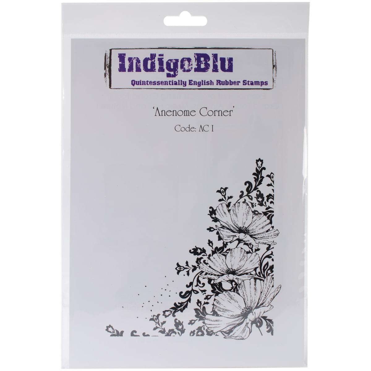 "IndigoBlu Cling Mounted Stamp 9"" x 6.5"", Anenome Corner"