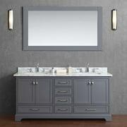 Stufurhome Newport 72 in. Double Sink Bathroom Vanity with Mirror