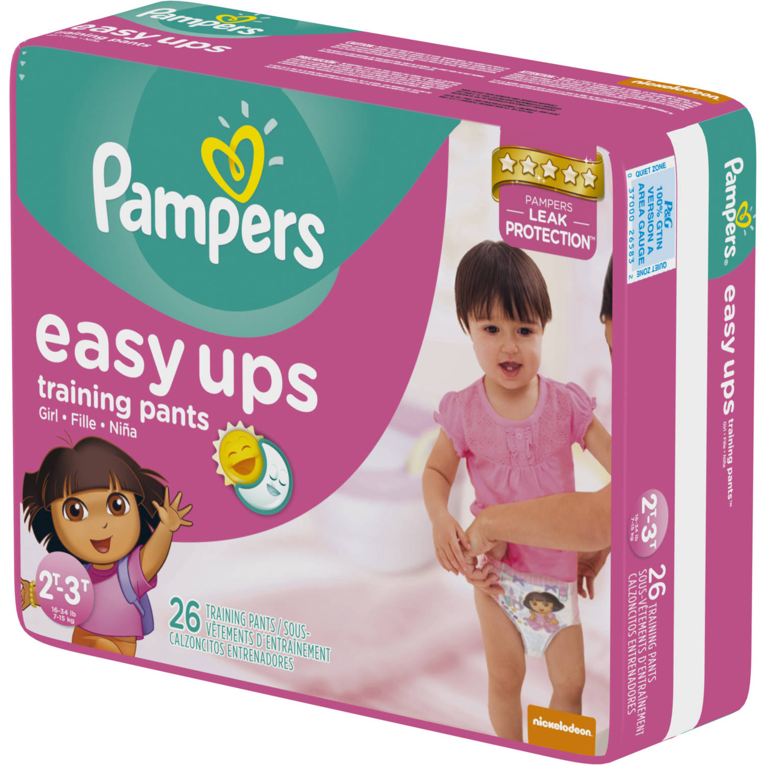Pampers Easy Ups Girls Training Pants, Size 2T-3T (Choose Pant Count)