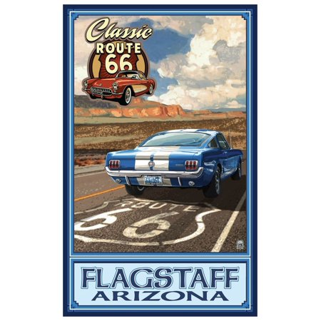 Flagstaff, Arizona Route 66 Mustang Travel Art Print Poster by Paul A. Lanquist (12