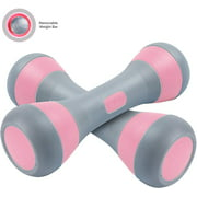 NiceC Adjustable Dumbbell Weight Pair, 5-in-1 Weight Options, Non-Slip Neoprene Hand, All-purpose, Home, Gym, Office (4.5Lb, Pink Pair)