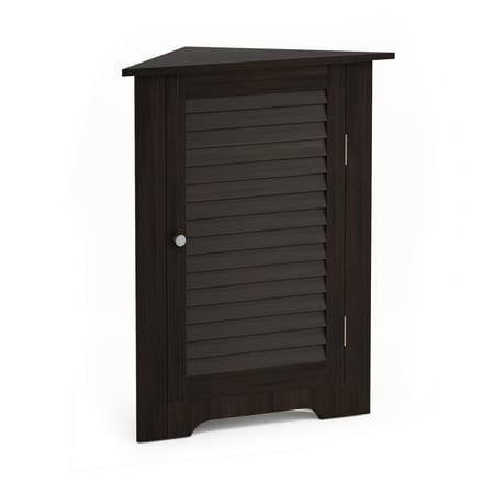 Furinno Indo Corner Louver Door Cabinet, Espresso ()